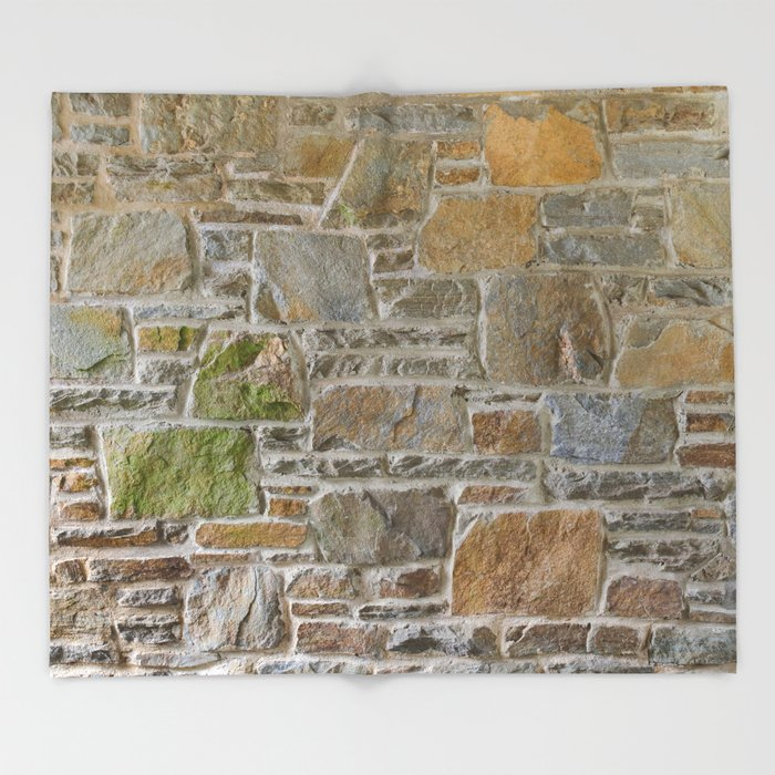 Avondale Brown Stone Wall and Mortar Texture Photography Throw Blanket