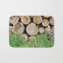 A background of wood Bath Mat