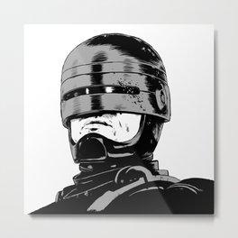 Robocop (b/w) Metal Print