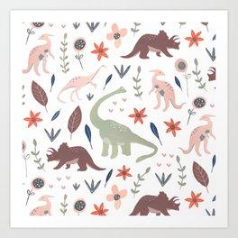 Pretty Dinosaurs Art Print