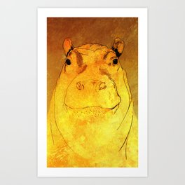 Golden Hippo Art Print