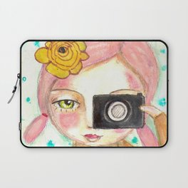 Smile ! girl with photo camera Laptop Sleeve
