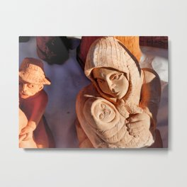 Pottery Fair Virgin Mary with Infant Jesus Metal Print