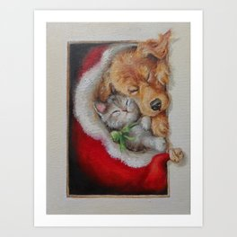 Christmas illustration Cute pets sleeping in the Santa's red hat Art Print