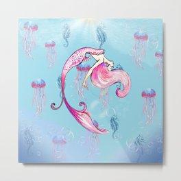 fathoms below, a little mermaid collage Metal Print