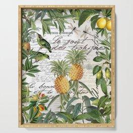 Tropical Fruit Illustration Vintage Style Serving Tray
