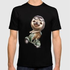 RUNAWAY SLOTH Black MEDIUM Mens Fitted Tee