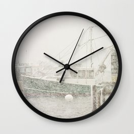 Bass Harbor in Heavy Snowstorm, Mount Desert Island, Maine Wall Clock
