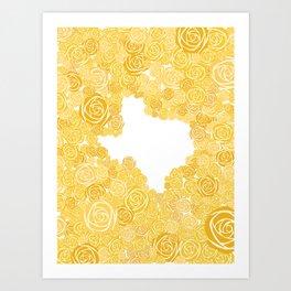 Texas Yellow Rose Outline Art Print