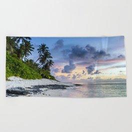 Sunset on the beach Beach Towel