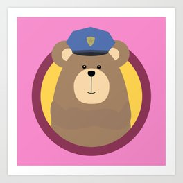 Police Officer Brown Bear in cirlce Art Print