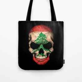 Dark Skull with Flag of Lebanon Tote Bag
