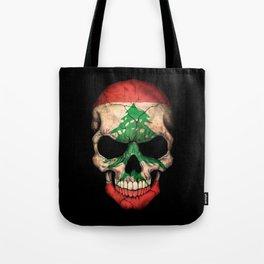 Dark Skull with Flag of Lebanon Tote Bag