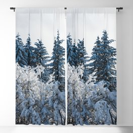 Winter Trees X - Snow Capped Forest Adventure Nature Photography Blackout Curtain