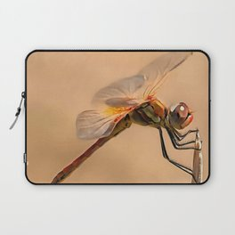 Painted Dragonfly Isolated Against Ecru Laptop Sleeve