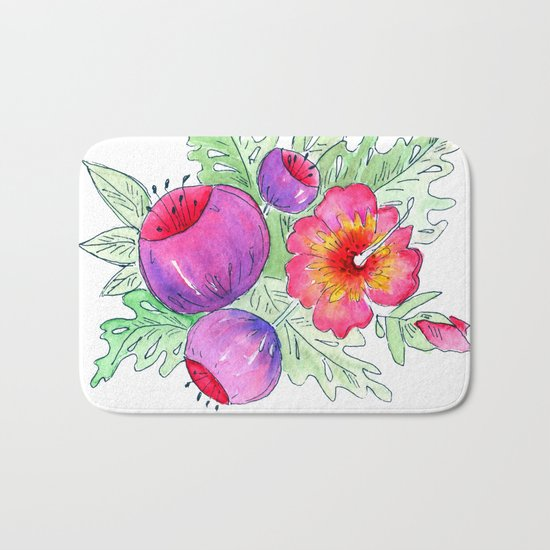 Tropical exotic flowers and leaves 2 . Bath Mat