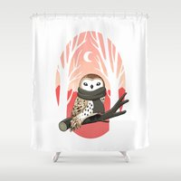 winter Shower Curtains featuring Winter Owl by Freeminds