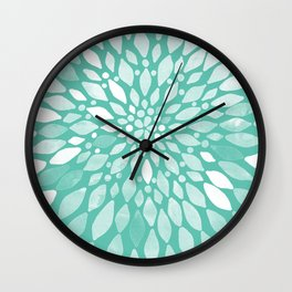 Radiant Dahlia in Teal and White Wall Clock
