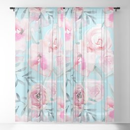 mediterranean summer flowers on turquoise Sheer Curtain