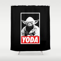 obey Shower Curtains featuring Obey Yoda (yoda text version) - Star Wars by YiannisTees