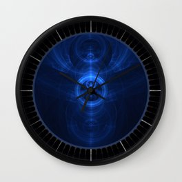 Symbol of Purpose - Beautiful Blue Blown Glass Sapphire Fractal Circles Wall Clock