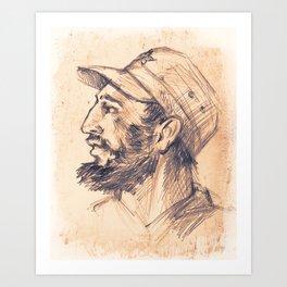 Portrait of Fidel Castro. Cuban politician, revolutionary, president of Cuba. Art Print
