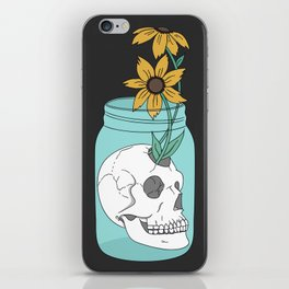 Skull in Jar with Flowers iPhone Skin