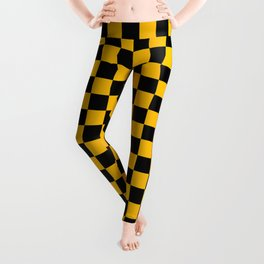 Black and Amber Orange Checkerboard Leggings