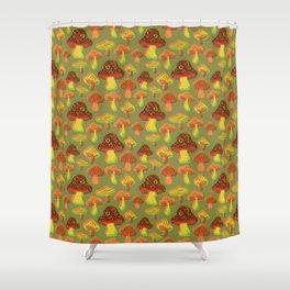 Mushroom Print in 3D Shower Curtain