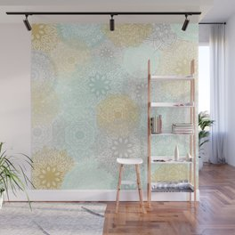 Floral Mandala Blooms Fall, Yellow, Aqua,Gray Wall Mural