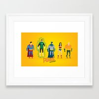 justice league Framed Art Prints featuring Justice League of America - Pixel Nostalgia by Boo! Studio