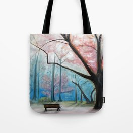 Trees pink and blue Tote Bag