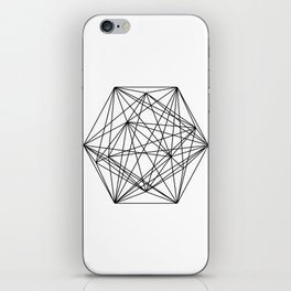 Geometric Crystal - Black and white geometric abstract design iPhone Skin