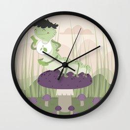 Inchworm eating up a mushroom Wall Clock