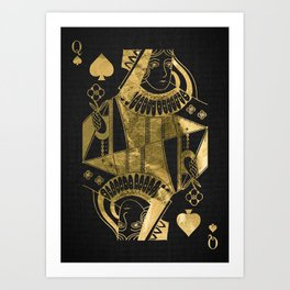 Queen Pikes - Golden playing cards Art Print