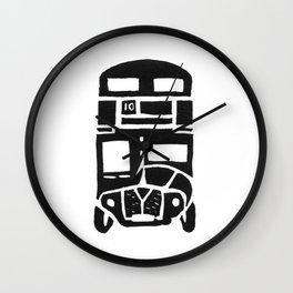 London bus linoprint Wall Clock