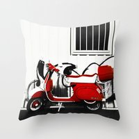 vespa Throw Pillows featuring Vespa by absoluca