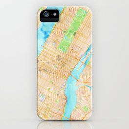 New York City watercolor map iPhone Case