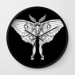 Art Nouveau Moth (black background) Wall Clock