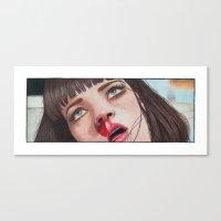 mia wallace Canvas Prints featuring Mia Wallace by Tariana B.