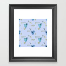 Love . The filigree heart . Blue background . Framed Art Print
