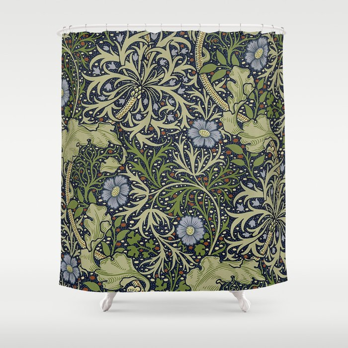 William Morris Seaweed Pattern Shower Curtain