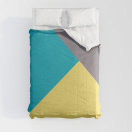 Blue-Green Yellow Gray Abstract Pattern 2021 Color of the Year AI Aqua 098-59-30 Comforters