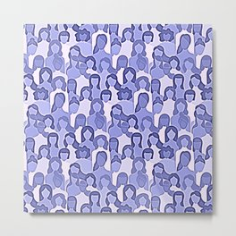 Together Strong - Woman Power Graphic Blue Lilac Metal Print