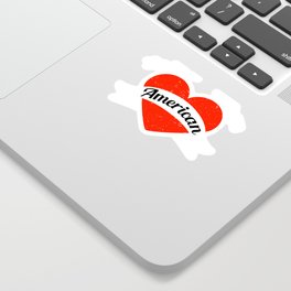 I'm in love with an American | Big heart and banner Sticker