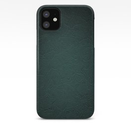 Forest Green Tooled Leather iPhone Case