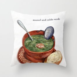 La Cuisine Fusion - Mussels with Caldo Verde Throw Pillow