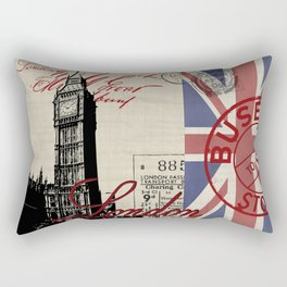 London Great Britain Big Ben Flag Collage Rectangular Pillow