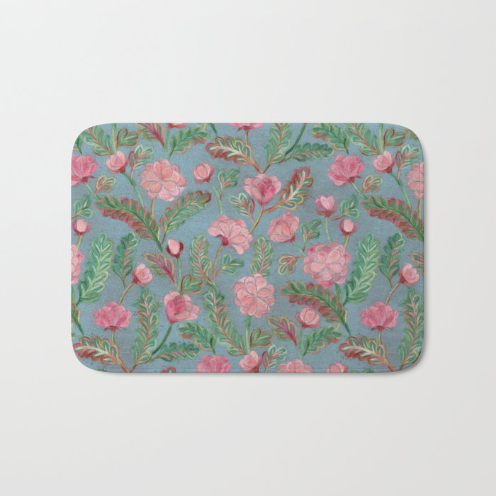 Soft Smudgy Pink and Green Floral Pattern Bath Mat