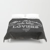 coffee Duvet Covers featuring COFFEE by Monika Strigel